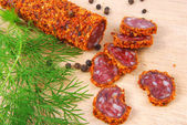 Dried spicy sausage — Stock Photo