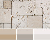 Travertine tiles  color palette swatches with complimentary — Stock Photo