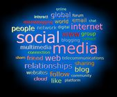 Social media concept in 3d word tag cloud — Stock Photo