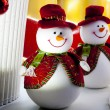 Snowman Christmas decoration lights — Stock Photo