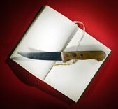 Knife on opened book — Stok fotoğraf