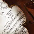 Violin and scores — Stock Photo