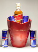 Red Bull Cans and Johnnie Walker Whiske — Stock Photo