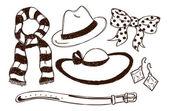 Weibliche accessoires im doodle-stil — Stockvektor