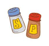 Dibujos animados de sal y pimienta — Vector de stock