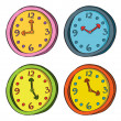 Clock in doodle style — Stock Vector