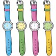 Wrist watch in various color — Stock Vector