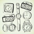 Stock Vector: Set of watch and clock doodle