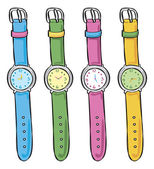 Wrist watch in various color — 图库矢量图片