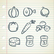 ストックベクタ: Set of food icon in doodle style
