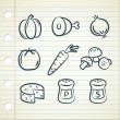 Stok Vektör: Set of food icon in doodle style