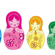 Vector de stock : Russian matryoshka doll with floral pattern