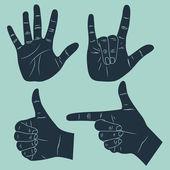 Mão humana com vários gestos — Vetorial Stock