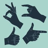 Main de l'homme avec des gestes différents — Vecteur