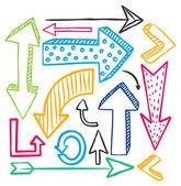 Big set of arrow doodle — Stock Vector
