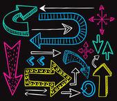 Büyük set ok doodle — Stok Vektör