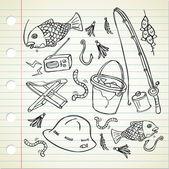 Fishing stuff doodle — Stock Vector