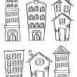 Stock Vector: Set of building in doodle style
