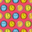 Retro clock seamless pattern — Stock Vector
