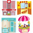 Stock Vector: Hospital - hotdog booth - barber shop - flower shop