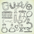 Set of science stuff in doodle style — Stock Vector
