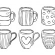 Set of cute mug in doodle style — Stock Vector
