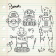Set of vintage robot in doodle style — Stock Vector