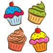 Cupcake and yogurt icon in doodle style — Stock Vector #12651459