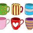 Stock Vector: Set of cute mug in doodle style