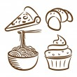 Royalty-Free Stock Vector Image: Set of food icon in doodle style