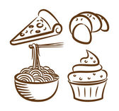 Set of food icon in doodle style — Stock Vector