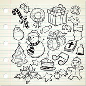 Set of Christmas decoration in doodle style — Stock Vector