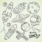 Space doodle set — Stock Vector
