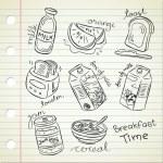 Breakfast food in doodle style — Stock Vector #13289799