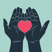 Ruce dávat lásku symbol — Stock vektor