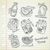 Breakfast food in doodle style — Stock Vector