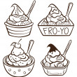 Cup of frozen yogurt — Vector de stock #13857898
