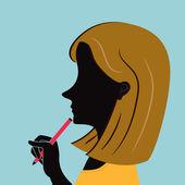 Mujer de oficina con moda pelo con pluma — Vector de stock