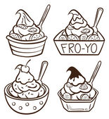 Uma xícara de iogurte congelado — Vetorial Stock