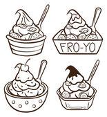 Una taza de yogurt congelado — Vector de stock