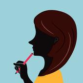 Biuro kobieta z modne włosy trzymając pióro — Wektor stockowy