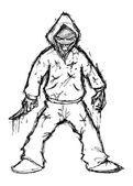 Murderer cartoon isolated on white background — Stock Vector