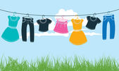 Clothes on washing line against blue sky and green grass — Stock Vector