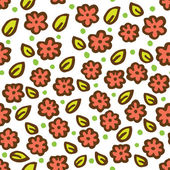 Cute floral pattern in doodle style — Stock Vector