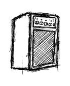 Grunge amplifier isolated on white background — Stock Vector