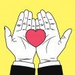 Vintage hand giving heart symbol — Stock Vector #38212647