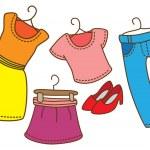 Cartoon female clothing — Stock Vector #38215121