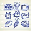 Set of sketchy vintage stuff icon — Stock Vector