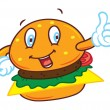 Cartoon hamburger with happy expression — Stock Vector