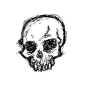 Grunge skull in doodle style — Stock Vector